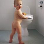 baby in toilet